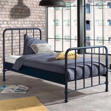 Eenpersoonsbed Bronxx metaal 90x200 - mat blauw denim