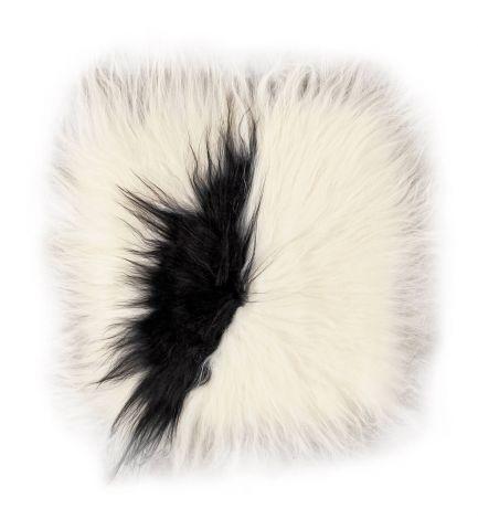 Stoelkussen Lambskin 37x37 Dierenhuid,, vierkant – Wit/zwart