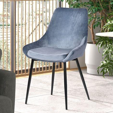 Set van 2 stoelen Mirano metaal/fluweel - blauw