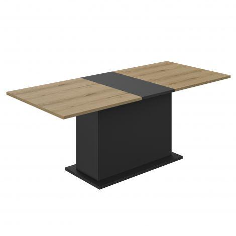 Uitschuifbare eettafel Tando 160/200cm met centrale voet - eik/zwart
