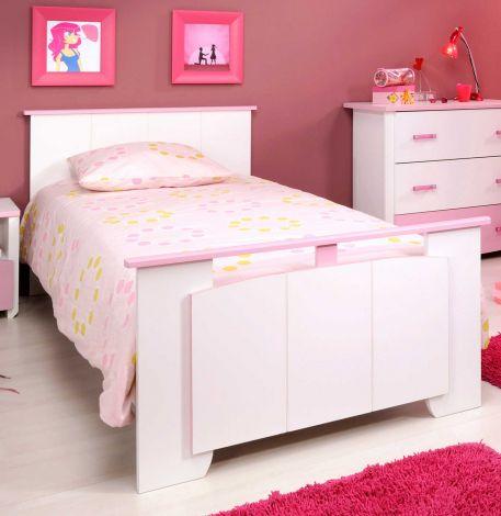 Kinderbed Biotiful roze/wit 90x190 voor meisje