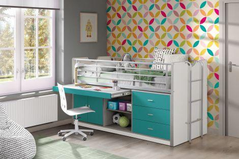 Halfhoogslaper met bureau Bonny 95 - turquoise
