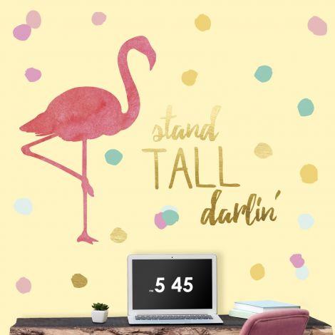 Muursticker Flamingo Stand Tall