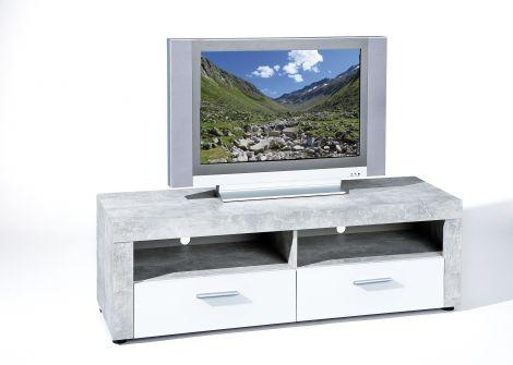 Tv-meubel Beton 134cm met 2 lades - beton/wit