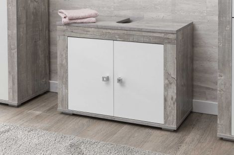 Wastafelonderkast Rutger 2 deuren - wit/beton
