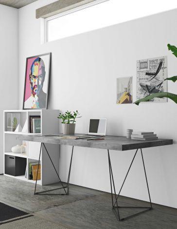 Tafel Multis 160cm - beton/zwart