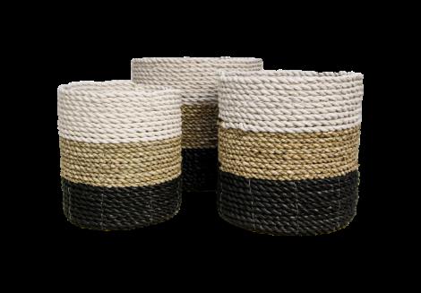Mandenset - raffia / zeegras - wit / naturel / zwart - set van 3