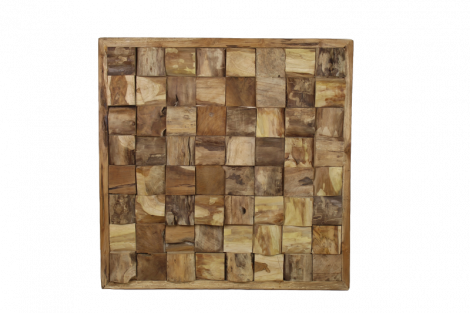 Wanddecoratie - 80x80 cm - teak