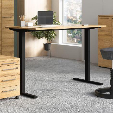 Zit-sta bureau Osmond 160cm elektrisch verstelbaar - eik/zwart