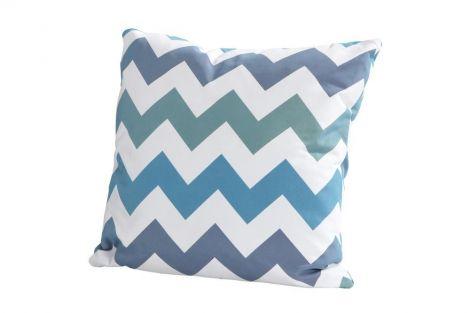 Kussen 50x50 - zigzag blauw