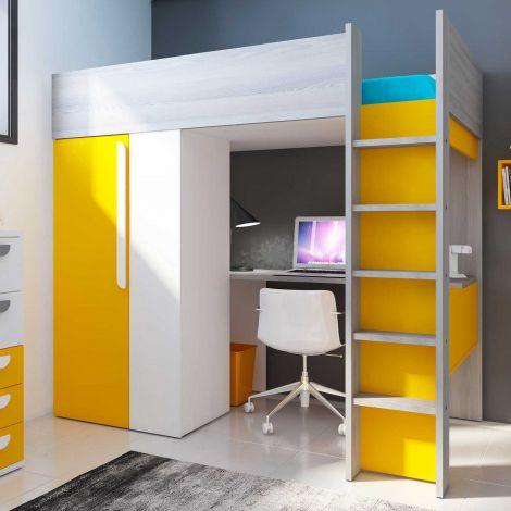 Hoogslaper Beau met bureau en kast - geel