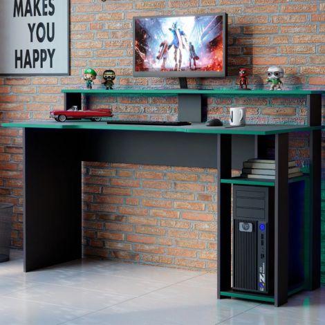Gaming bureau Markies 136cm - zwart/groen