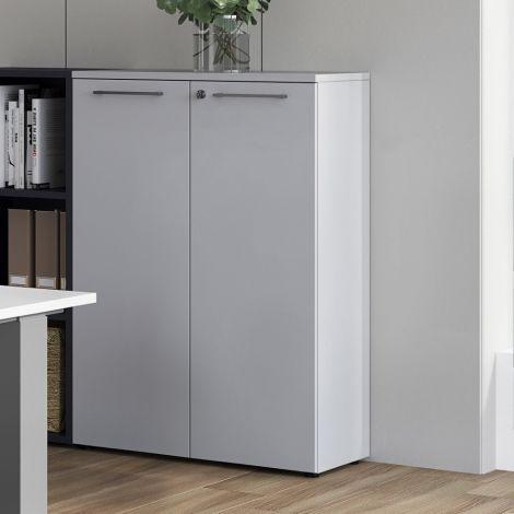 Lage archiefkast Osmond 80cm met 2 deuren - lichtgrijs