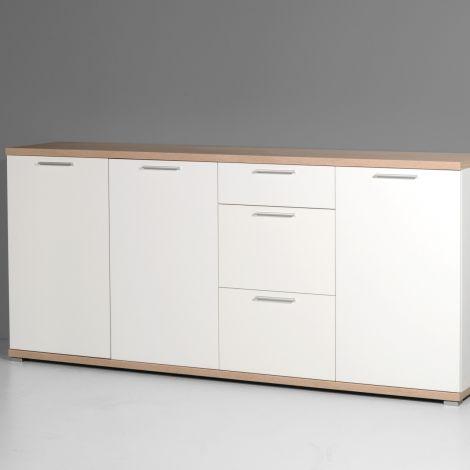 Dressoir Tosun 192cm met 3 deuren & 3 lades - wit/eik