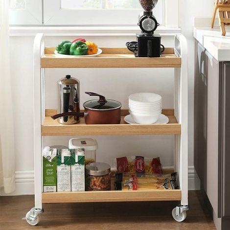 Keukentrolley Xenia 3 legplanken - natuurlijk/wit