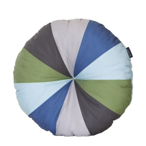 Rond sierkussen - groen/blauw
