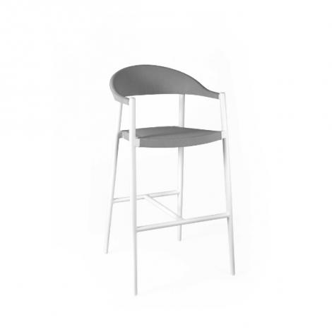 Barstoel voor buiten Mati - wit/grijs