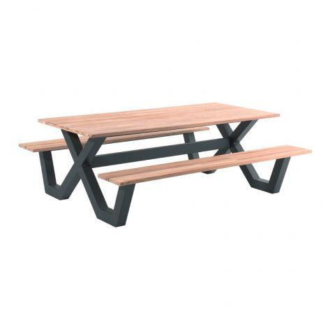 Picknicktafel Charles 220x100 - zwart/teak