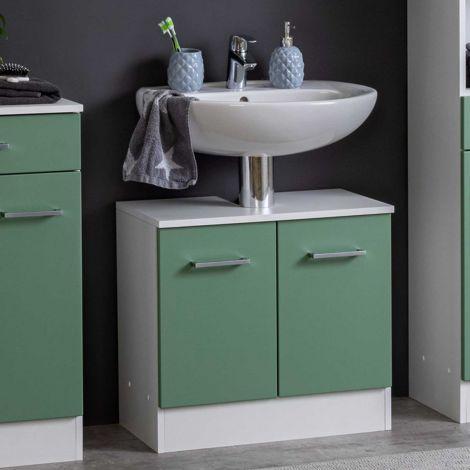 Wastafelonderkast Ricca 60cm 2 deuren - wit/groen