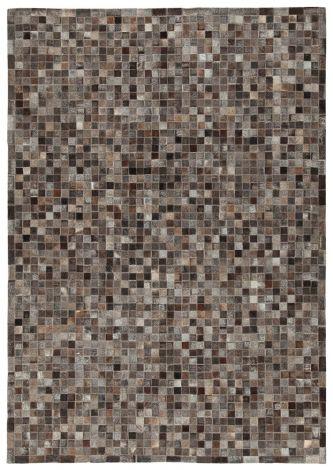 Vloerkleed In Leather Patchwork 230x160 - bruin
