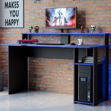 Gaming bureau Markies 136cm - zwart/blauw