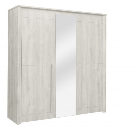 Kledingkast Hayden 205 cm 3 deuren & spiegel - gebleekte eik