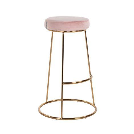 Barstoel Groes velours - roze/goud