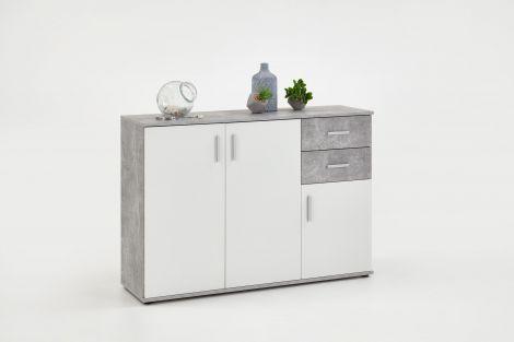 Commode Albi 3 deuren & 2 laden - beton/wit