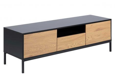 Tv-meubel Dover 140cm 2 deuren 1 lade industrieel - zwart/wilde eik