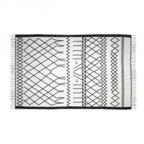 Vloerkleed Boha 120x70 katoen – zwart/wit