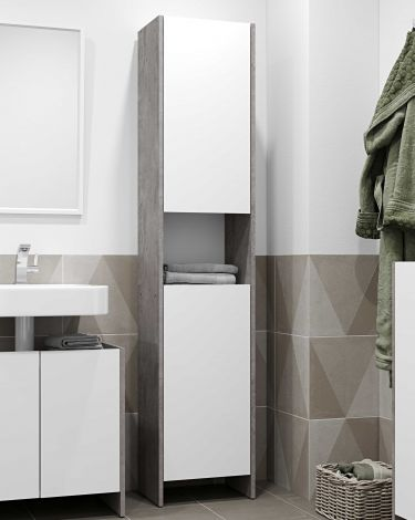 Kolomkast Biarritz 2 deuren- wit/beton