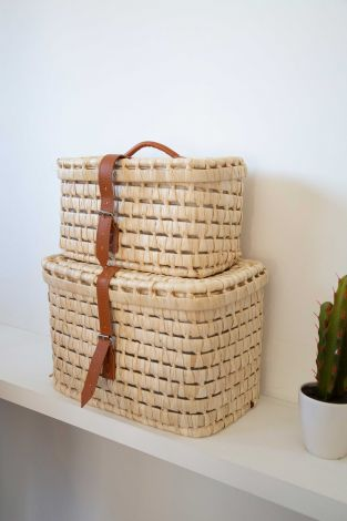 Set van 2 opbergkoffertjes uit maïsbladeren