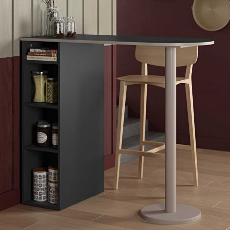Bartafel Amel 115x50 met opbergruimte - zwart/grijs