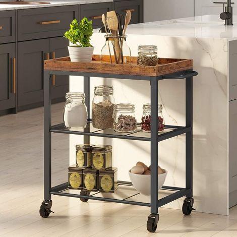 Keukentrolley Brad 2 legplanken - rustiek bruin/zwart