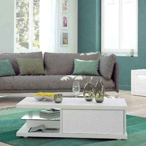 Salontafel Kaia 120x60 - hoogglans wit