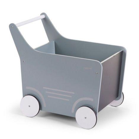 Houten loopwagentje - muntblauw