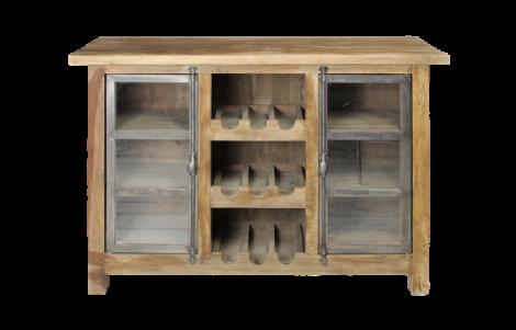 Wijnkast Hunter - reclaimed teak / ijzer