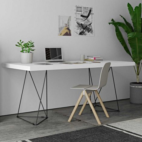 Tafel Multis 160cm - wit/zwart