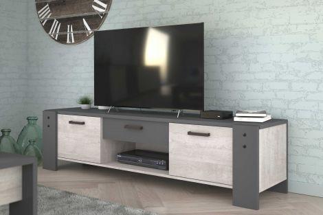 Tv-meubel Travis 180cm industrieel - grijs