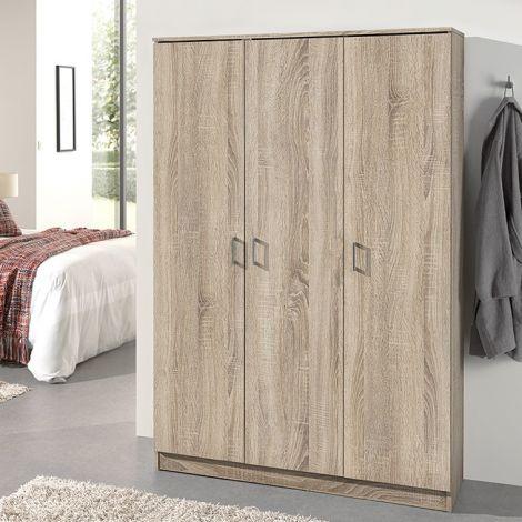 Opbergkast Ray 120cm met 3 deuren en 4 legplanken - sonoma eik