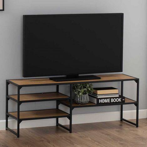 Tv-meubel Dover 120cm  3 legplanken industrieel - zwart/wilde eik