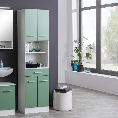 Kolomkast Ricca 50cm 4 deuren & 1 lade - wit/groen