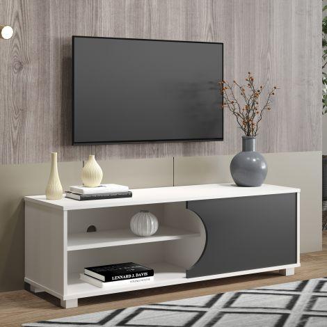 Tv-meubel Haaland 120cm met 1 deur - wit/grijs