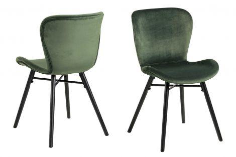 Set van 2 fluwelen stoelen Tilda met schuine poten - bosgroen/zwart