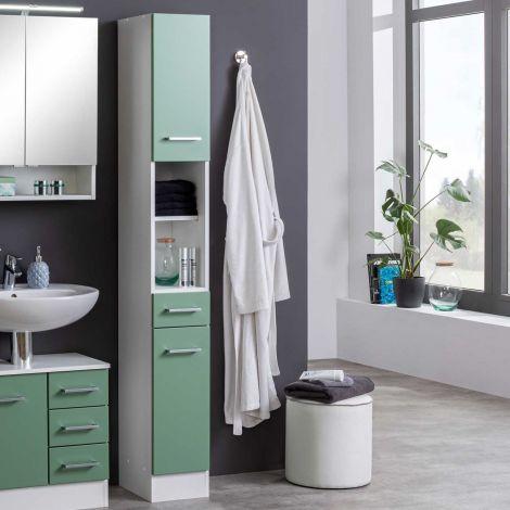 Kolomkast Ricca 25cm 2 deuren & 1 lade - wit/groen