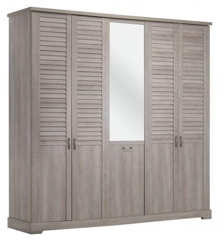 Kledingkast Wanda 230 cm 5 deuren & spiegel - loodwit eikenhout