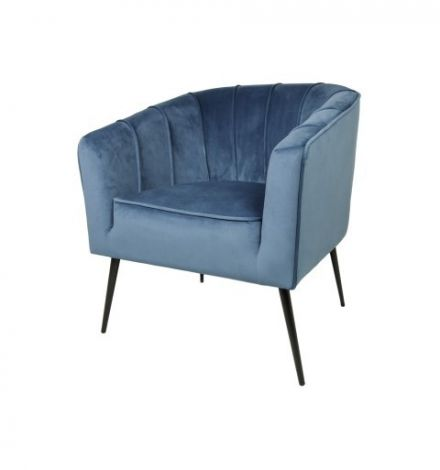 Fauteuil Chester - velours - staalblauw