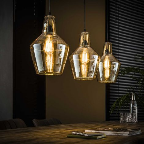Hanglamp 3L amber glas kegel - Oud zilver