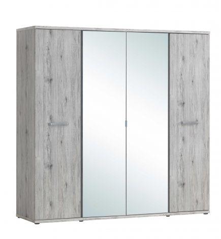 Kledingkast Forever 220cm met 4 deuren & spiegel - grijze eik
