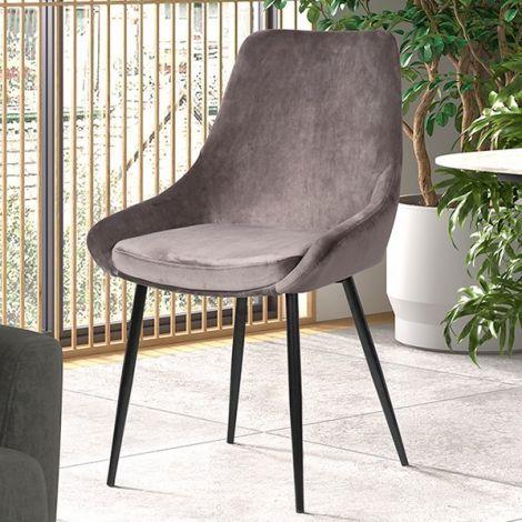 Set van 2 stoelen Mirano fluweel/metaal - grijs